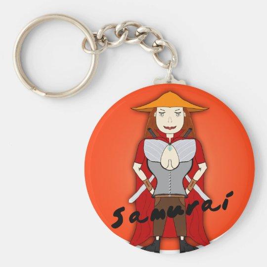Samurai Girl Basic Round Button Key Ring