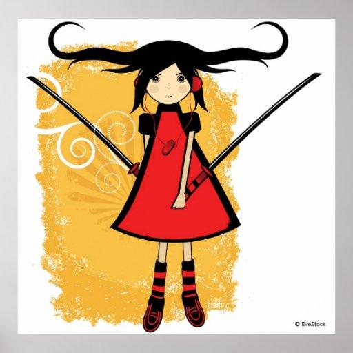 Samurai Girl Print