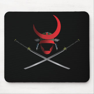 Samurai Helmet and Swords Mouse Pad