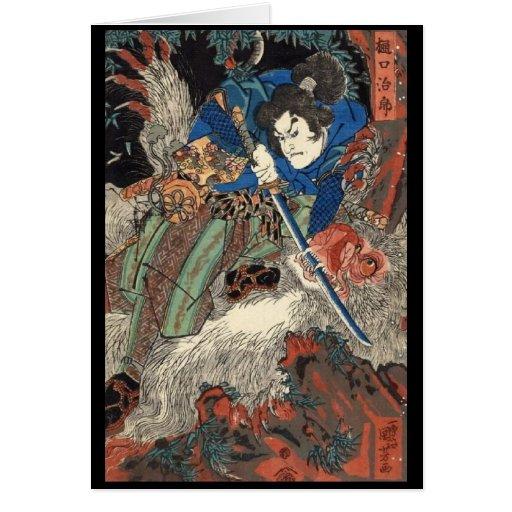 Samurai Japanese Painting c. 1800's Cards