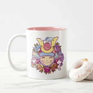samurai kawaii girl Two-Tone coffee mug