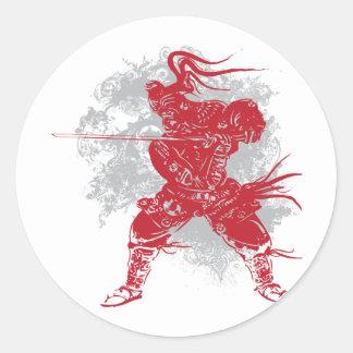 Samurai Pose Round Sticker