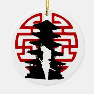 Samurai Round Ceramic Decoration