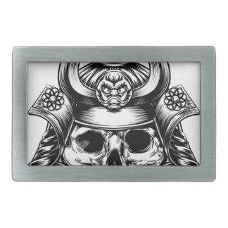 Samurai Skull Rectangular Belt Buckle