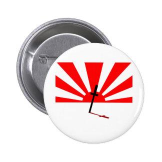 Samurai sunset 6 cm round badge