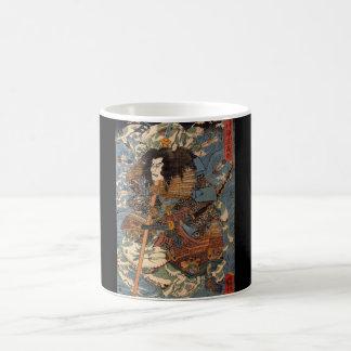 Samurai surfing on the backs of crabs c. 1800's basic white mug