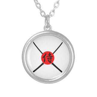 SAMURAI - Sword & Kanji Silver Plated Necklace