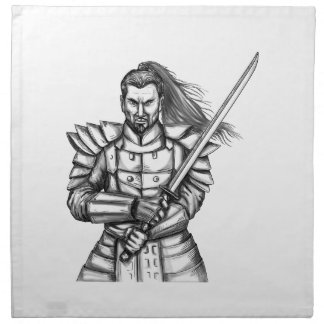Samurai Warrior Fight Stance Tattoo Napkin