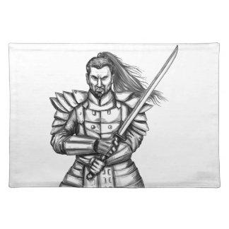 Samurai Warrior Fight Stance Tattoo Placemat