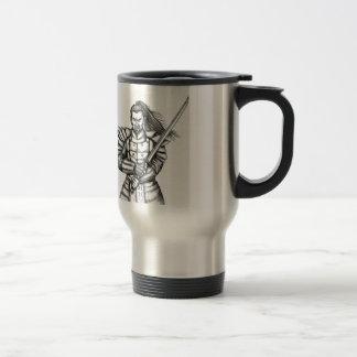 Samurai Warrior Fight Stance Tattoo Travel Mug