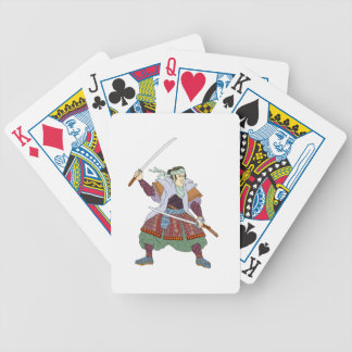 Samurai Warrior Fighting Stance Mono Line Bicycle Playing Cards