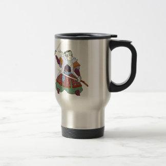 Samurai Warrior Fighting Stance Mono Line Travel Mug