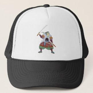 Samurai Warrior Fighting Stance Mono Line Trucker Hat