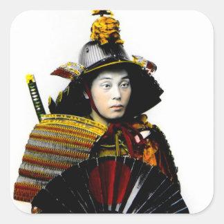 Samurai Warrior of Old Japan Vintage Warrior 侍 Square Sticker