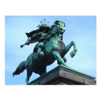 Samurai Warrior Statue- postcard