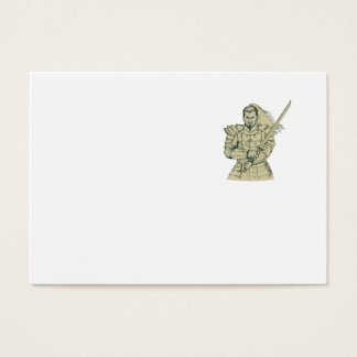 Samurai Warrior Swordfight Stance Drawing Business Card