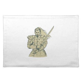 Samurai Warrior Swordfight Stance Drawing Placemat