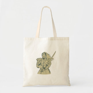 Samurai Warrior Swordfight Stance Drawing Tote Bag