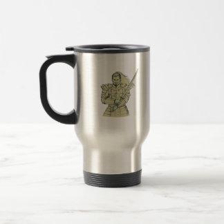 Samurai Warrior Swordfight Stance Drawing Travel Mug