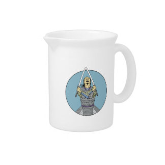Samurai Warrior Two Swords Looking Up Circle Drawi Pitcher