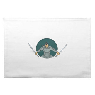 Samurai Warrior Wielding Two Swords Oval Drawing Placemat