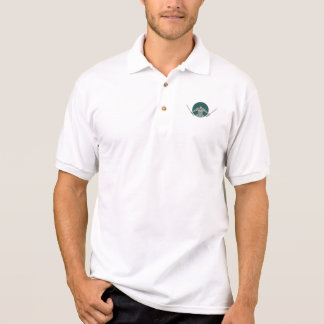 Samurai Warrior Wielding Two Swords Oval Drawing Polo Shirt