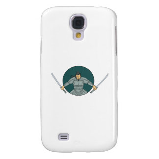 Samurai Warrior Wielding Two Swords Oval Drawing Samsung Galaxy S4 Cover