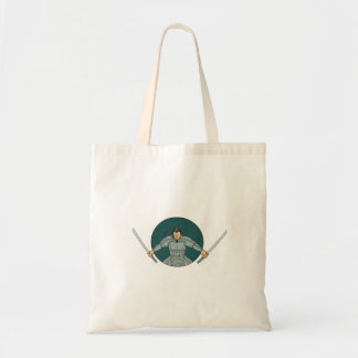Samurai Warrior Wielding Two Swords Oval Drawing Tote Bag