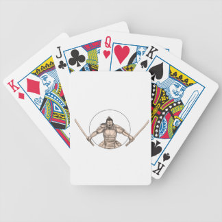 Samurai Warrior Wielding Two Swords Tattoo Bicycle Playing Cards