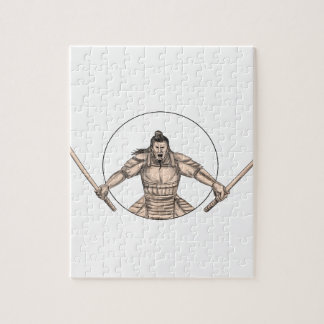 Samurai Warrior Wielding Two Swords Tattoo Jigsaw Puzzle