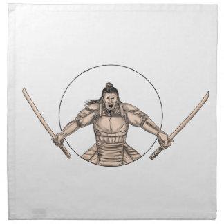 Samurai Warrior Wielding Two Swords Tattoo Napkin