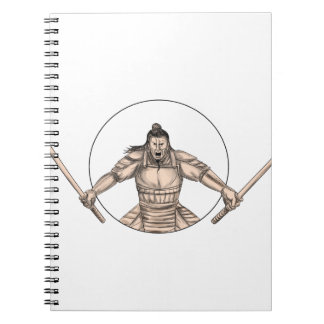 Samurai Warrior Wielding Two Swords Tattoo Notebooks