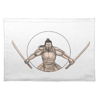 Samurai Warrior Wielding Two Swords Tattoo Placemat