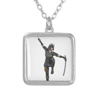 Samurai with 2 swords looking down to the left silver plated necklace