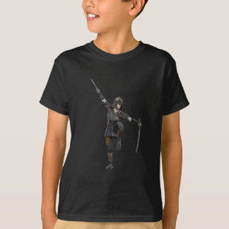Samurai with 2 swords looking down to the left T-Shirt
