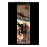 Samurai with his dog, circa 1800's greeting cards