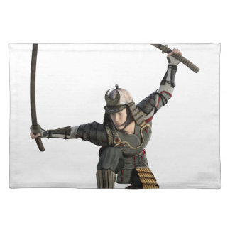 samurai with two swords in a full squat place mat