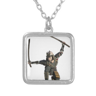 samurai with two swords in a full squat silver plated necklace