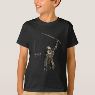 samurai with two swords in a full squat T-Shirt