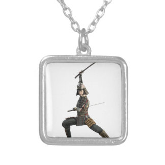 samurai with two swords looking to the front silver plated necklace