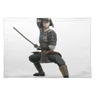 samurai with two swords ready looking to the front place mat