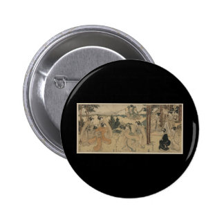 Samurai with Women and Mt Fuji Background c 1801 Pinback Button