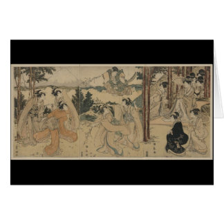 Samurai with Women and Mt. Fuji Background c.1801 Greeting Card