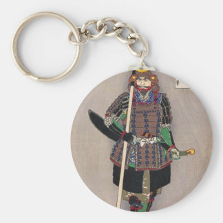 Samurai Yukimori 山中幸盛 by Yoshitoshi 月岡芳年 Basic Round Button Key Ring