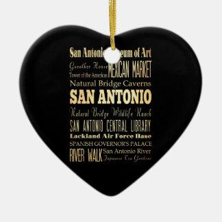 San Antonio City of Texas State Typography Art Ceramic Heart Decoration