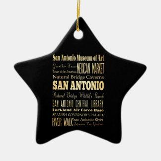 San Antonio City of Texas State Typography Art Ceramic Star Decoration