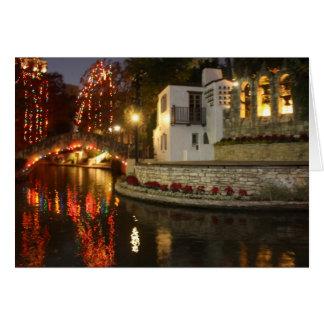 San Antonio River Walk Christmas Scene Greeting Card