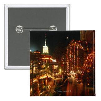 San Antonio Riverwalk at Night 15 Cm Square Badge