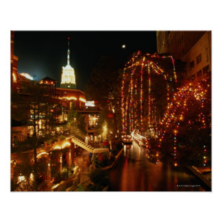 San Antonio Riverwalk at Night Poster