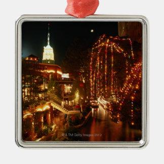 San Antonio Riverwalk at Night Silver-Colored Square Decoration